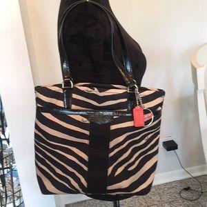 Coach Signature Stripe Zebra Print bag